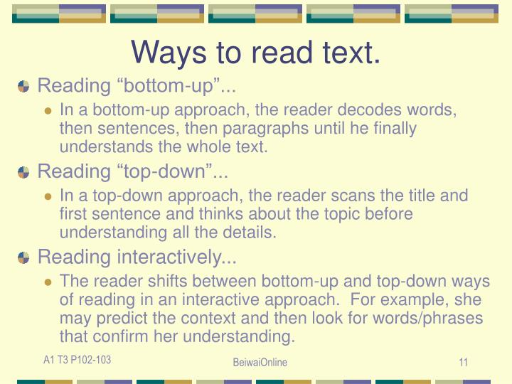 Ways to read text.