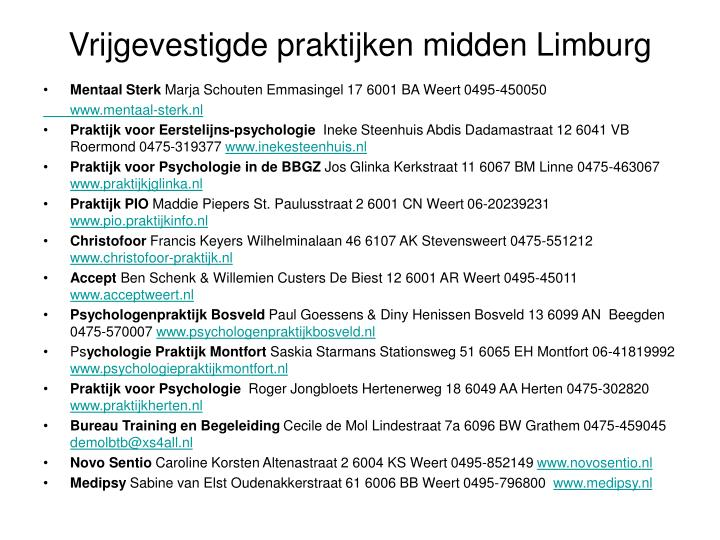 Vrijgevestigde praktijken midden Limburg