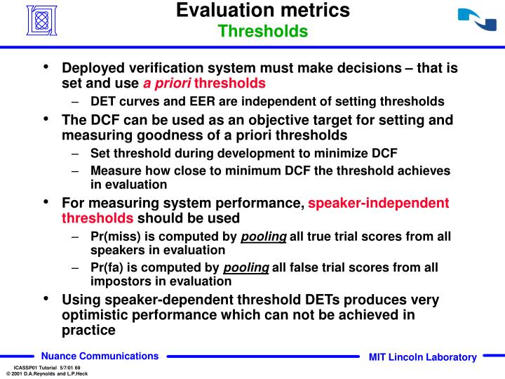 Evaluation metrics