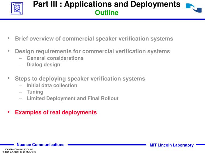 Part III : Applications and Deployments