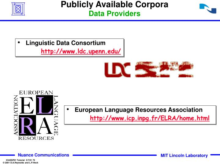 Publicly Available Corpora