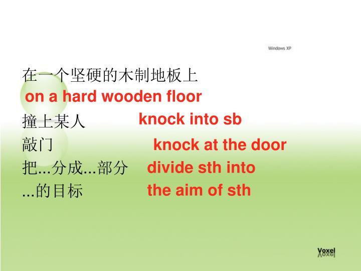 在一个坚硬的木制地板上