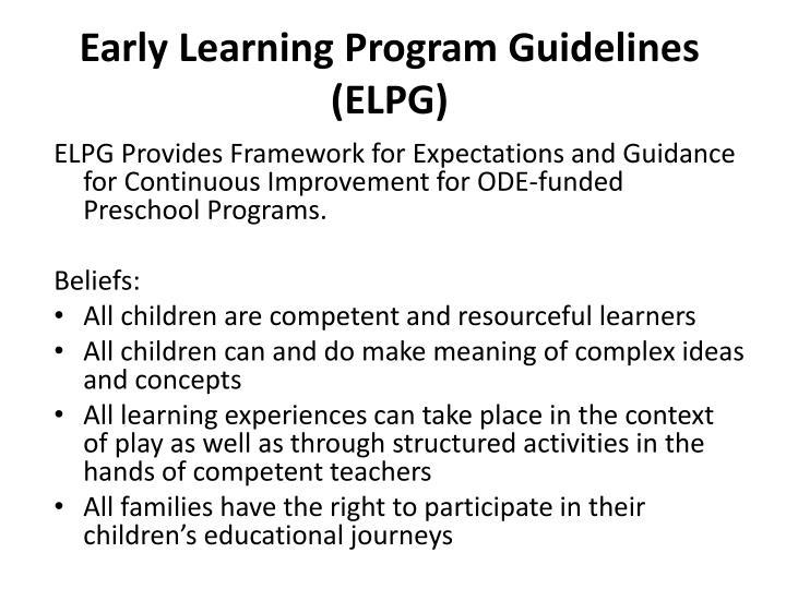 Early Learning Program Guidelines (ELPG)
