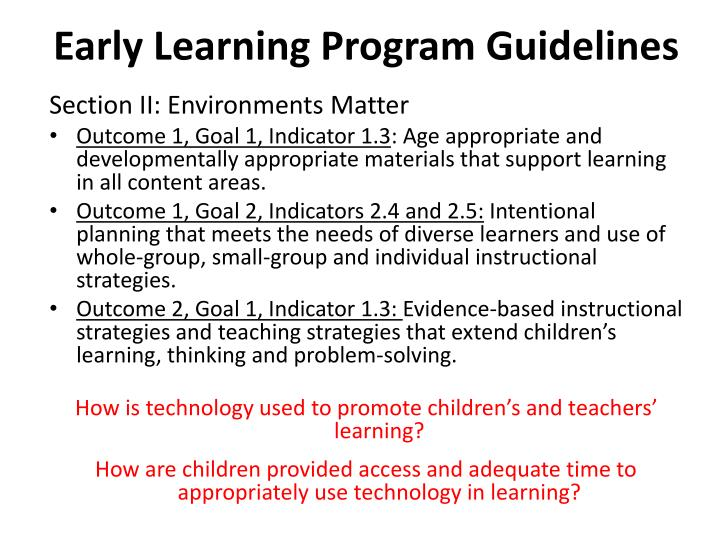 Early learning program guidelines