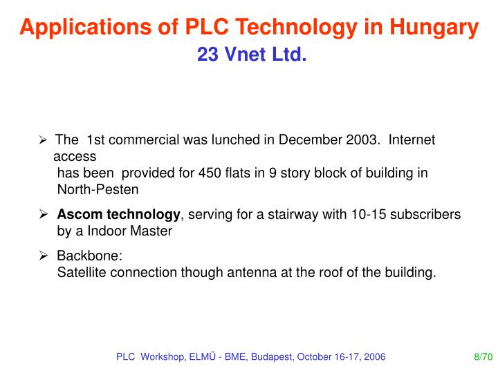 Applications of PLC Technology in Hungary