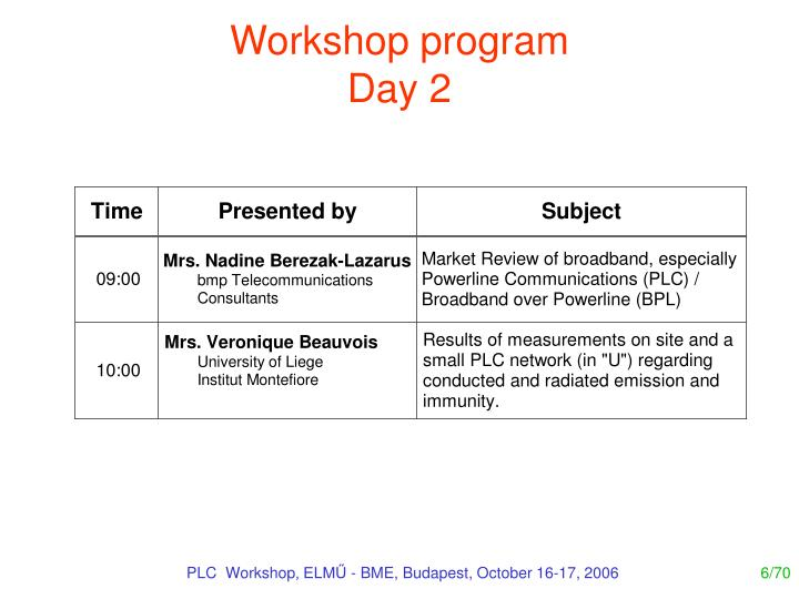 Workshop program
