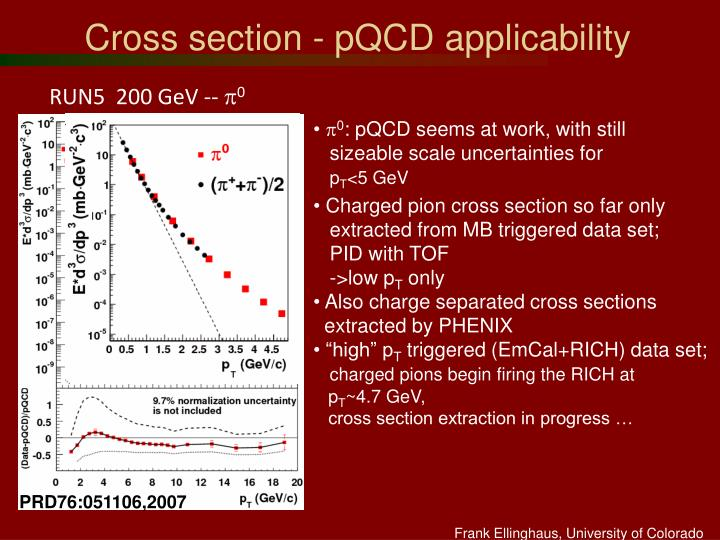 Cross section - pQCD applicability