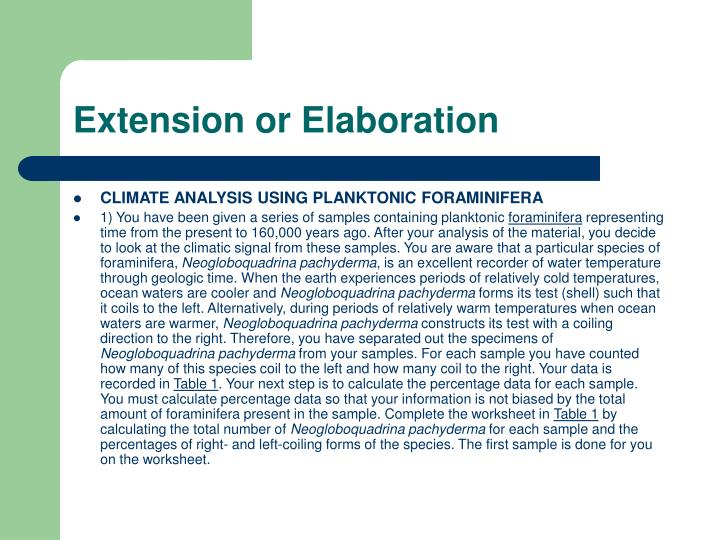 Extension or Elaboration