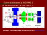 event selection at hermes