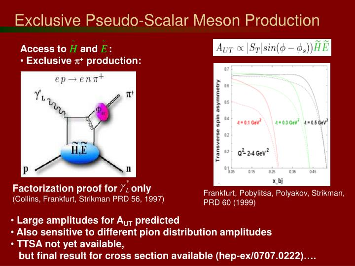 Exclusive Pseudo-Scalar Meson Production