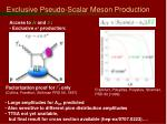 exclusive pseudo scalar meson production