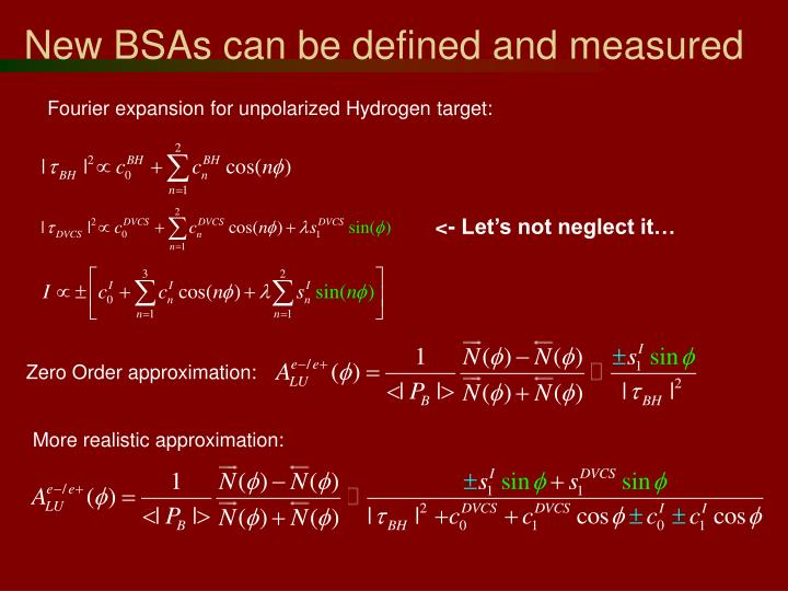 New BSAs can be defined and measured