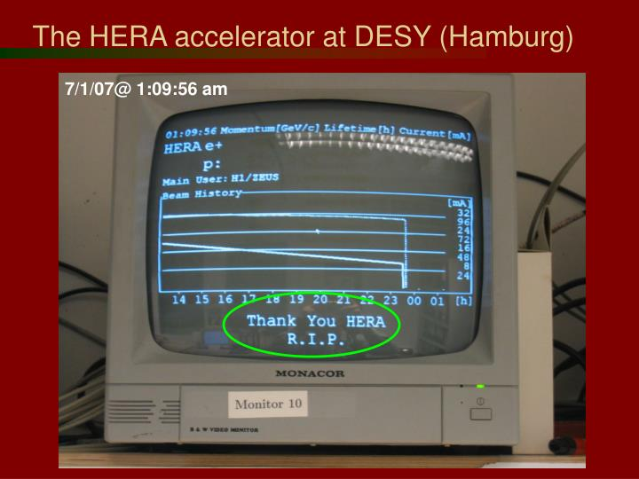 The HERA accelerator at DESY (Hamburg)
