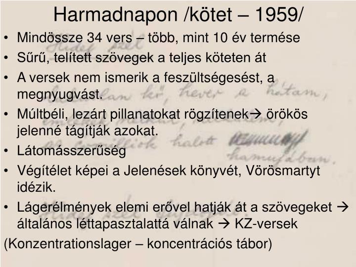 Harmadnapon /kötet – 1959/