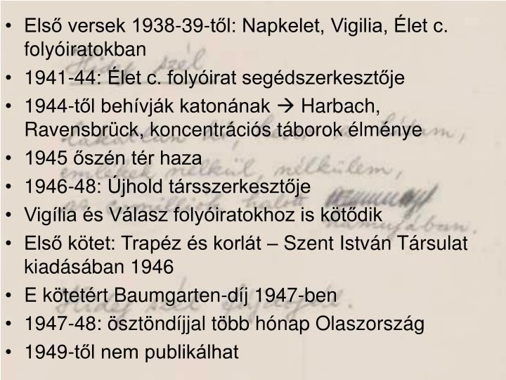 Első versek 1938-39-től: Napkelet, Vigilia, Élet c. folyóiratokban