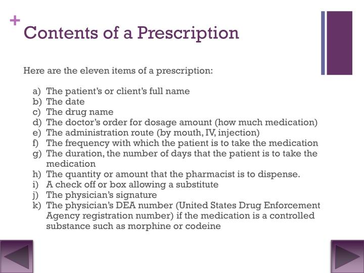 Contents of a Prescription