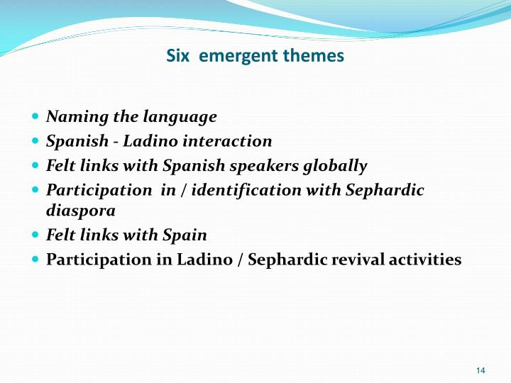 Six  emergent themes