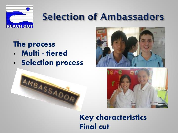 Selection of Ambassadors