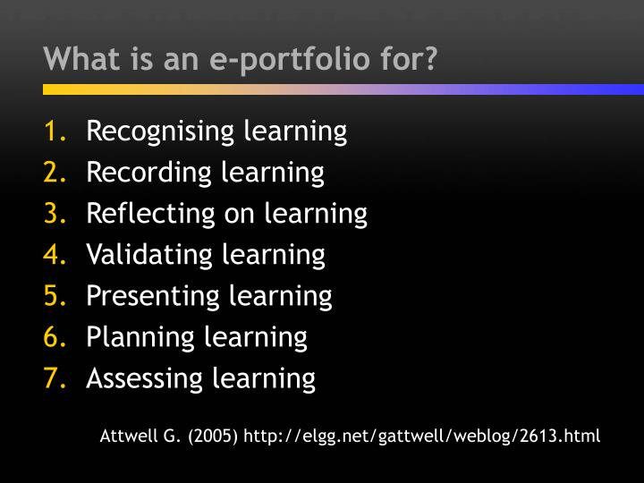 What is an e portfolio for