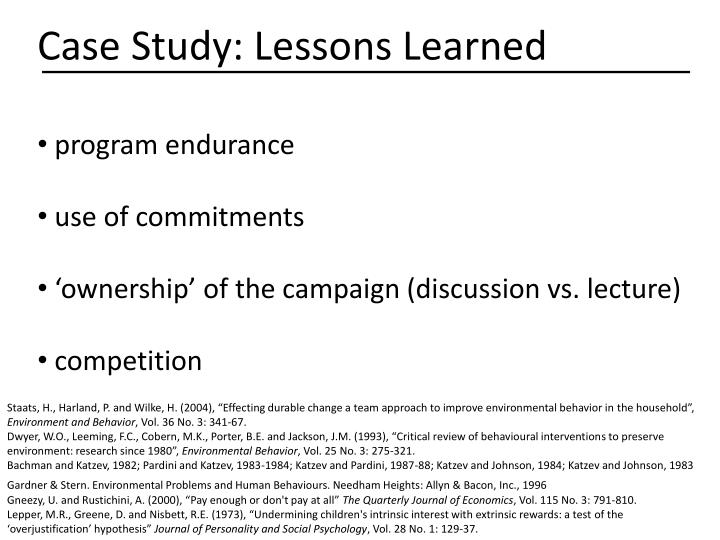 Case Study: Lessons Learned
