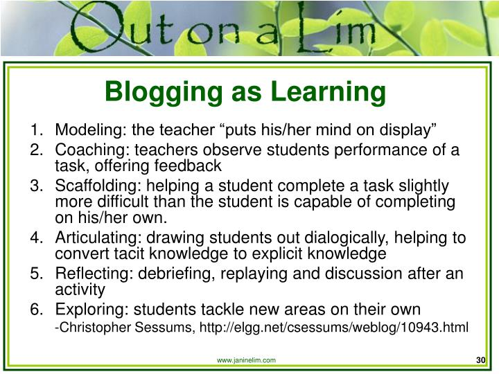 Blogging as Learning