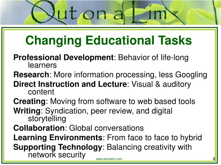 Changing educational tasks