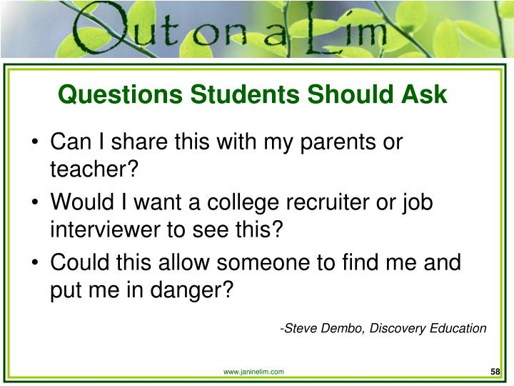 Questions Students Should Ask