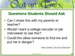 questions students should ask