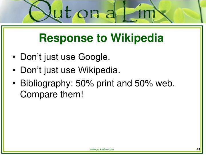 Response to Wikipedia