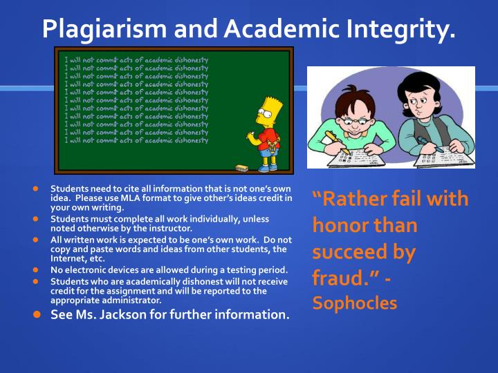 Plagiarism and Academic Integrity.