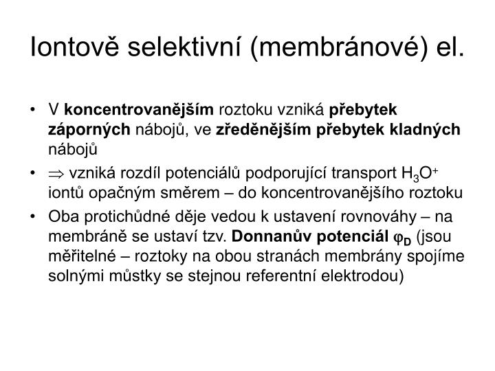 Iontově selektivní (membránové) el.