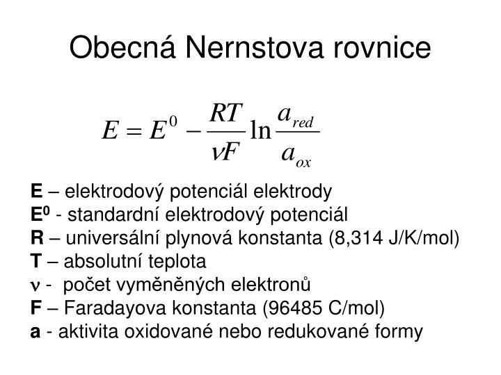 Obecná Nernstova rovnice