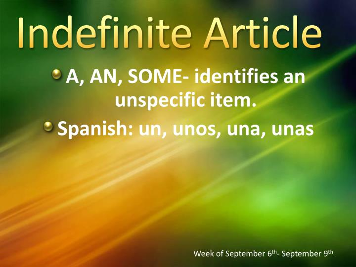 Indefinite Article