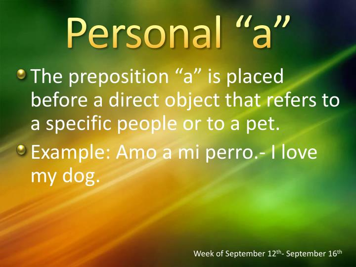 "Personal ""a"""