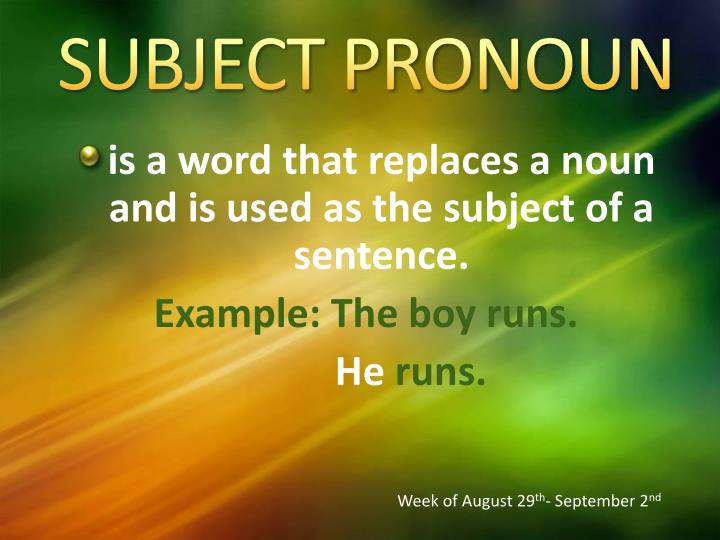 SUBJECT PRONOUN