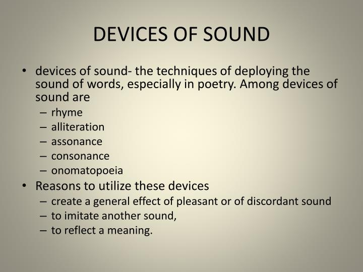 DEVICES OF SOUND