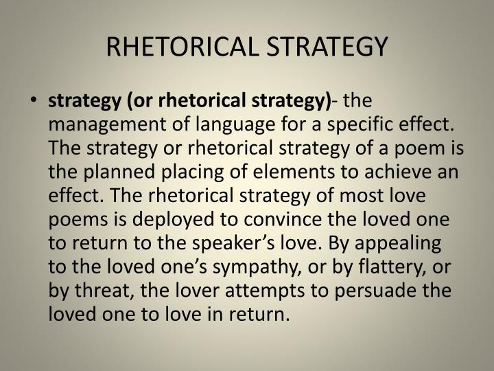 RHETORICAL STRATEGY