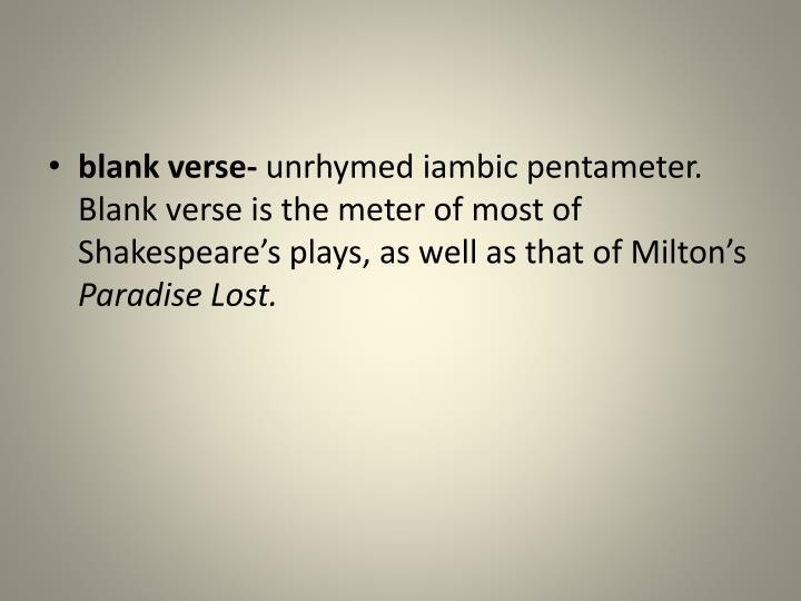 blank verse-