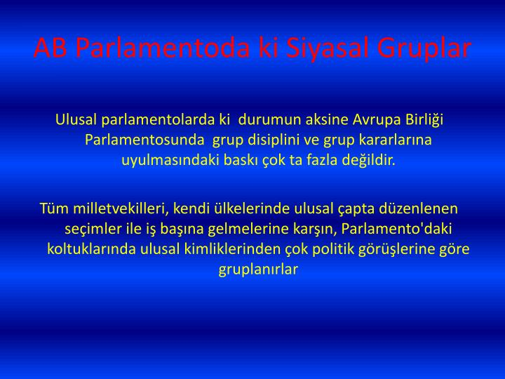 AB Parlamentoda ki Siyasal Gruplar