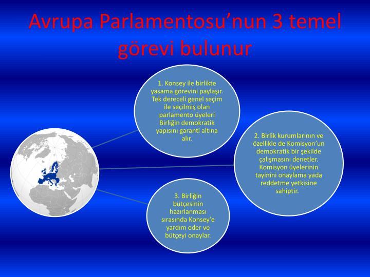 Avrupa Parlamentosu'nun 3 temel görevi bulunur