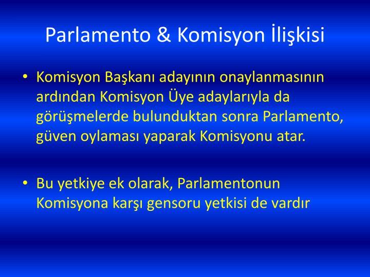Parlamento & Komisyon İlişkisi