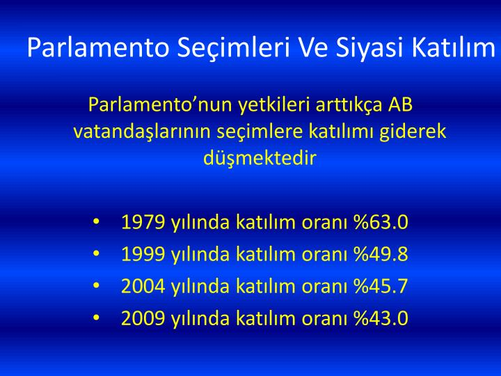 Parlamento Seçimleri Ve Siyasi Katılım