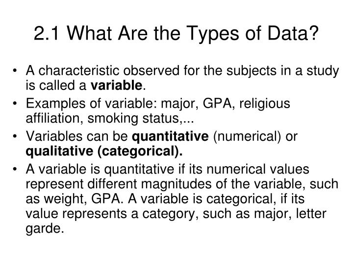 2.1 What Are the Types of Data?