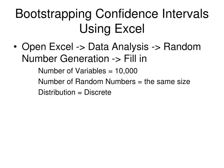 Bootstrapping Confidence Intervals Using Excel