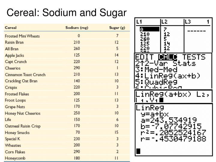 Cereal: Sodium and Sugar
