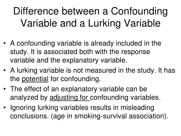 Difference between a Confounding Variable and a Lurking Variable