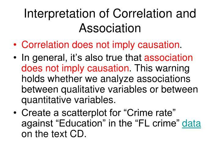 Interpretation of Correlation and Association