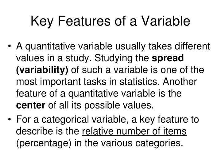 Key Features of a Variable