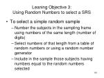 leaning objective 3 using random numbers to select a srs