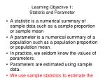 learning objective 1 statistic and parameter